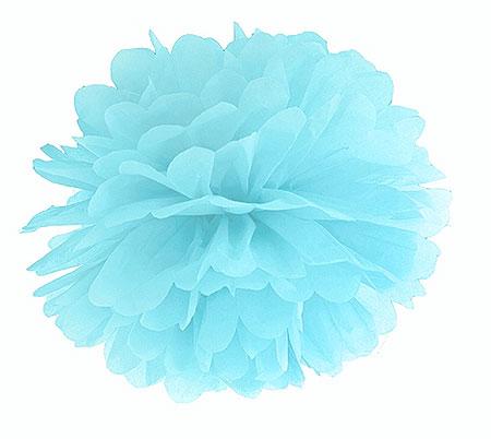 Boule pompon papier de soie 25 cm ciel