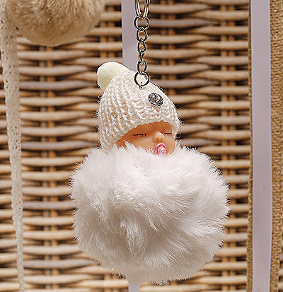 Cadeau Porte-Clef Bébé Fourrure Pompon Blanc Pas Cher