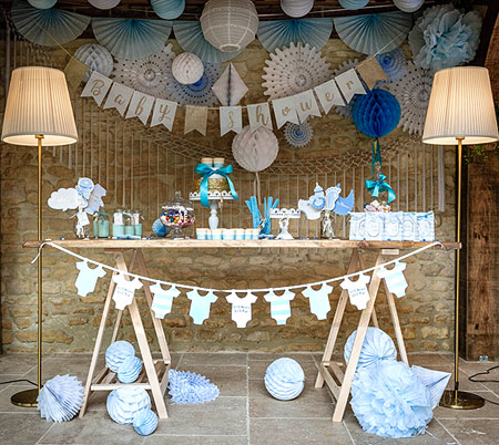 Décoration guirlandes Baby Shower Ciel