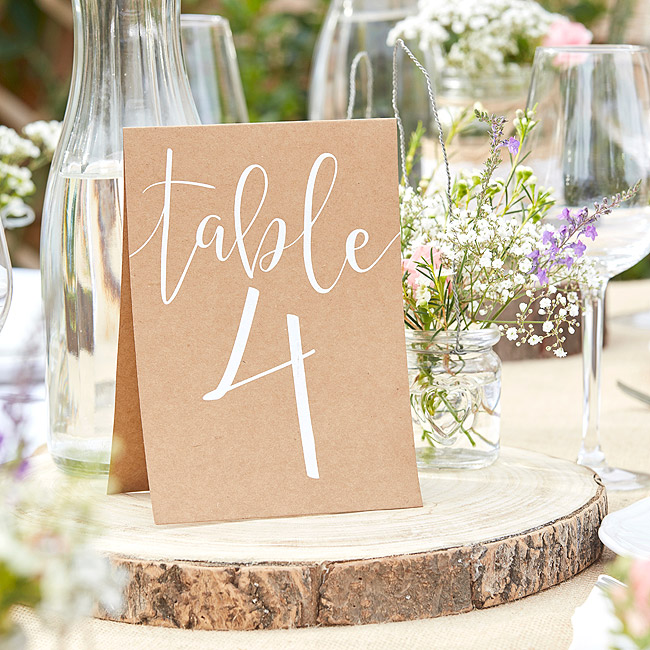 Rondin Bois Support Marque Table Mariage