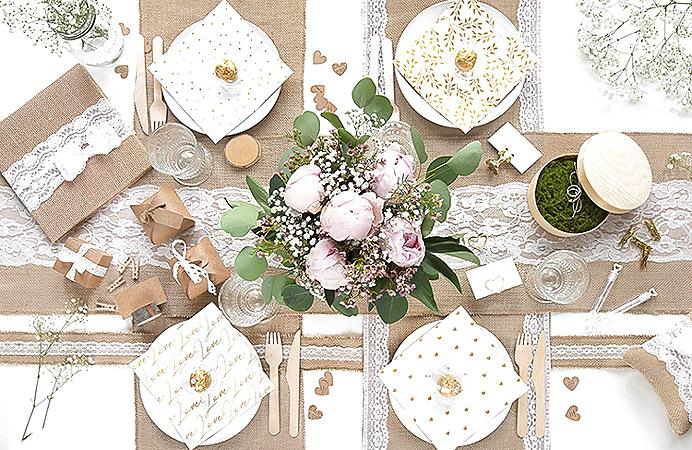 Decoration de table Jute et Dentelle