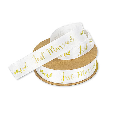 Ruban Satin Blanc Mariage Just Married Doré Pas Cher