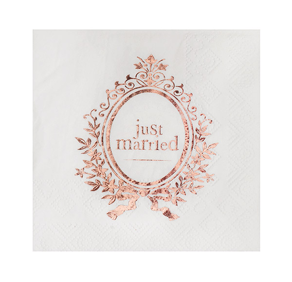Petite Serviette de Table Mariage Just Married Rose Gold