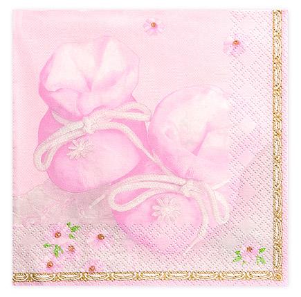 Serviette Table Chausson Rose Bébé Fille
