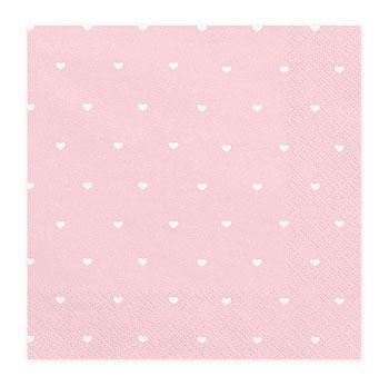 serviettes papier rose petits coeurs blancs x20 baby shower. Black Bedroom Furniture Sets. Home Design Ideas
