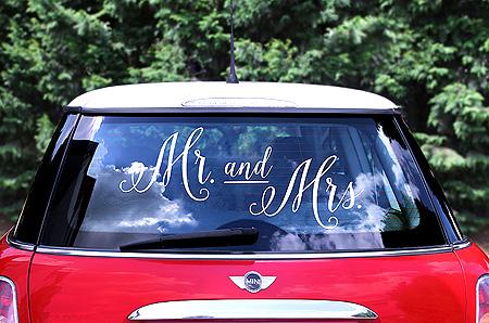 Sticker Autocollant Mr Mrs Déco Voiture Mariage Sans Trace