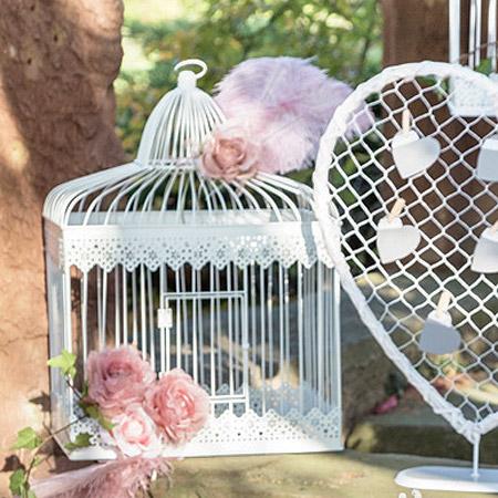 Cage Urne Métal Blanc grand modèle