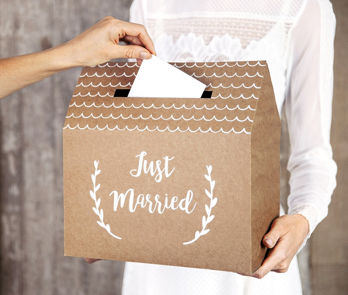 Tirelire Urne Enveloppe Just Married en forme de Maison