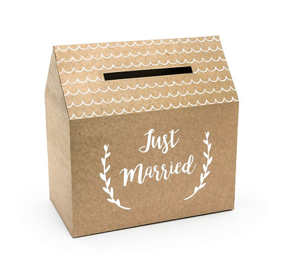 Urne Kraft Maison Mariage Just Married