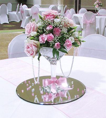 Coupelle Vase verre Martini sur pied Déco Fleurs centre de table